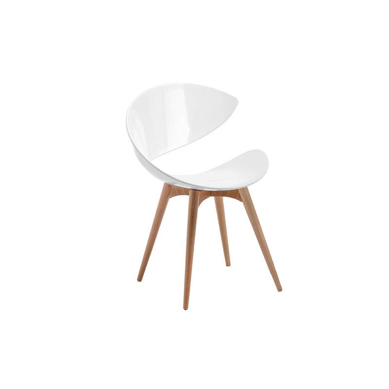 chaise design twist pieds bois midj blanc - Chaise Transparente Pied Bois