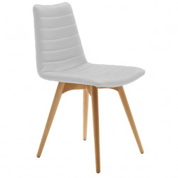 Chaise design Cover, Midj blanc pieds bois