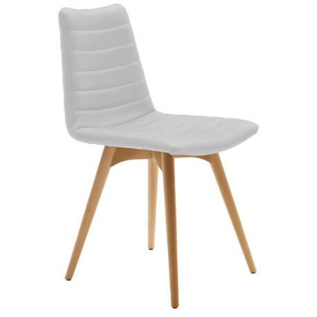 chaise design cover midj blanc pieds bois cerise sur la deco. Black Bedroom Furniture Sets. Home Design Ideas