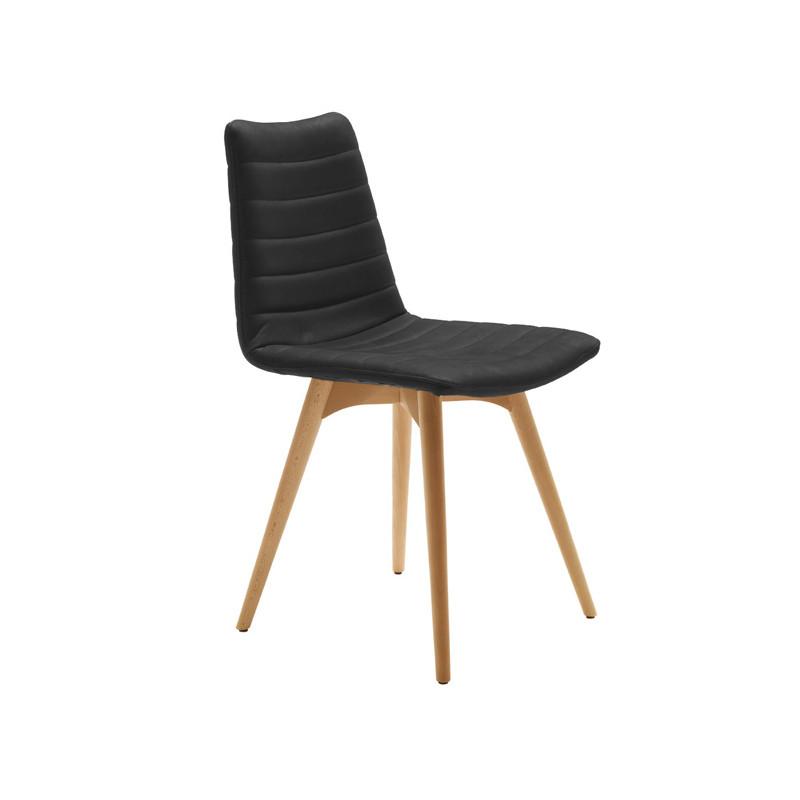 Chaise Design Cover Midj Noir Pieds Bois