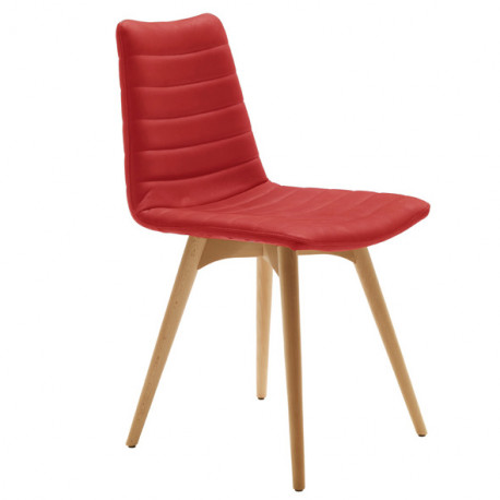 Chaise design Cover, Midj rouge pieds bois