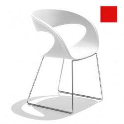 Chaise design Raff pieds doubles, Midj rouge