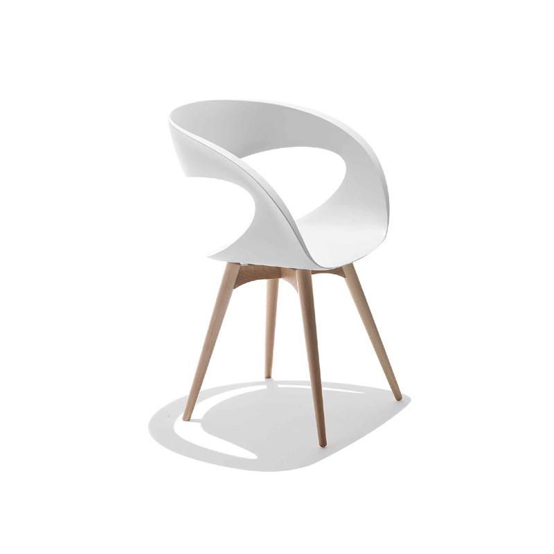 Chaise Design Raff Pieds Bois Midj Blanc