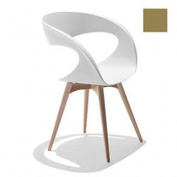 Chaise design Raff pieds bois, Midj gris cendré