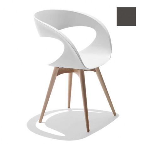 Chaise design Raff pieds bois, Midj gris foncé