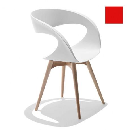 Chaise design Raff pieds bois, Midj rouge