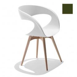 Chaise design Raff pieds bois, Midj vert olive