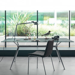 Table Brioso, Midj verre transparent 140x80 cm