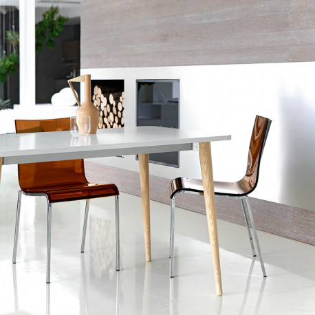 Table Dejavù, Midj plateau blanc, pieds bois 74/148x74 cm