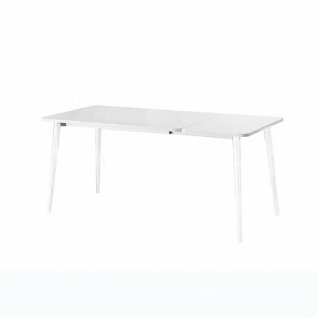 Table Dejavù, Midj plateau blanc, pieds blancs 140/220x90 cm