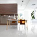 Table Dejavù, Midj plateau blanc, pieds bois 160/260x90 cm