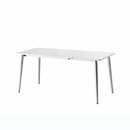 Table Dejavù, Midj plateau blanc, pieds chromés 140/220x90 cm