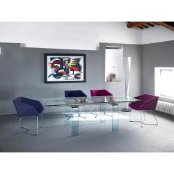 Table à rallonges rectangulaire Mambo, Midj plateau verre, pieds verre 140/170x85 cm