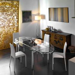 Table à rallonges rectangulaire Mambo, Midj plateau verre, pieds ronds chromés 140/170x85 cm