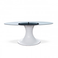 Table London, Midj plateau verre, pied brillant blanc 200x110 cm