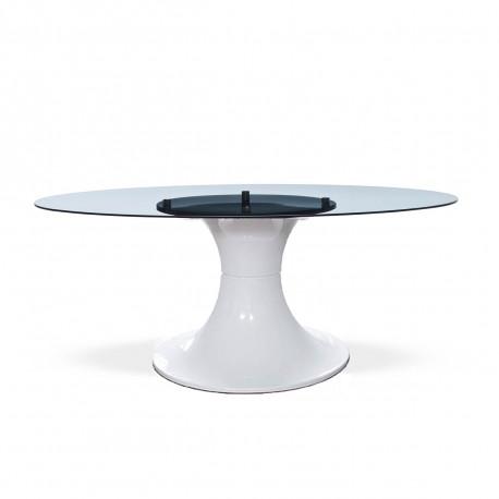 Table London, Midj plateau verre, pied brillant blanc 200x110 cm