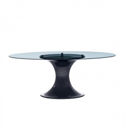 Table London, Midj plateau verre, pied brillant noir 200x110 cm