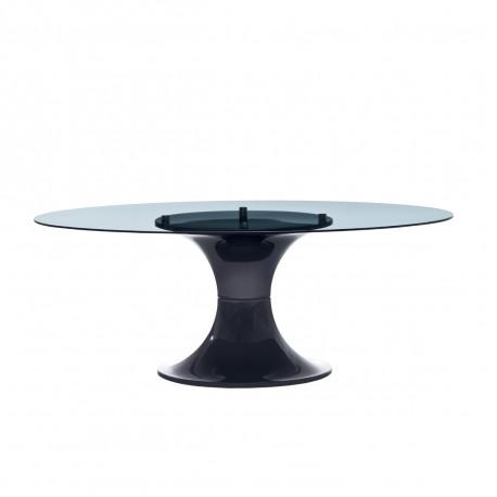 Table London, Midj plateau verre, pied brillant noir 200x110 cm