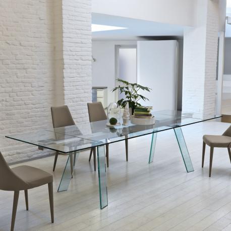 table verre toronto midj plateau verre pieds verre 160x100 cm cerise sur la deco. Black Bedroom Furniture Sets. Home Design Ideas