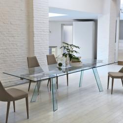 Table verre Toronto, Midj plateau verre, pieds verre 160/260x100 cm
