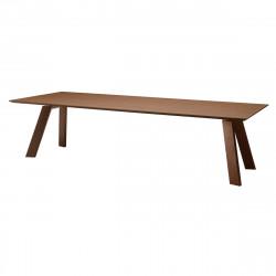 Table chêne Toronto, Midj plateau chêne foncé, pieds chêne foncé 300x106 cm