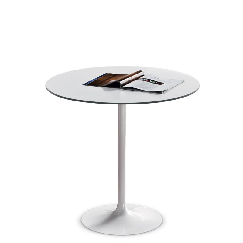 table ronde infinity midj plateau blanc pied blanc diam tre 60 cm cerise sur la deco. Black Bedroom Furniture Sets. Home Design Ideas
