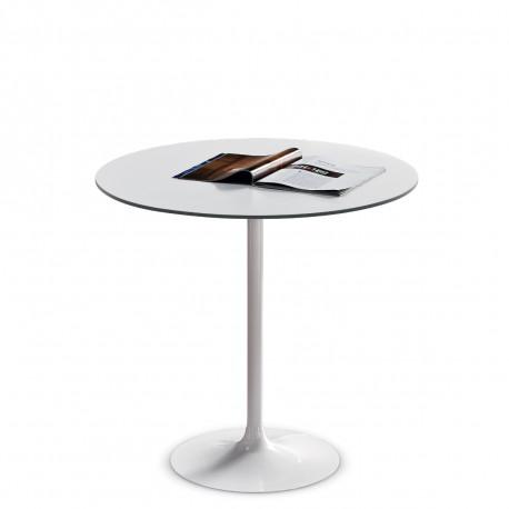 Table ronde Infinity, Midj plateau blanc, pied blanc Diamètre 80 cm