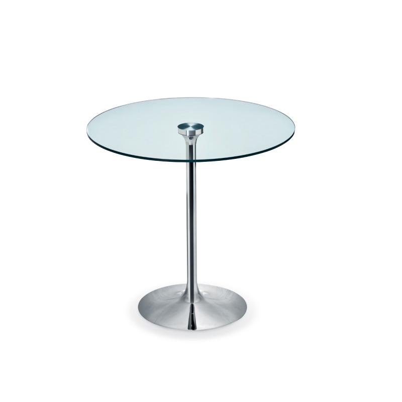 table ronde infinity midj plateau verre pied chrom diam tre 60 cm cerise sur la deco. Black Bedroom Furniture Sets. Home Design Ideas