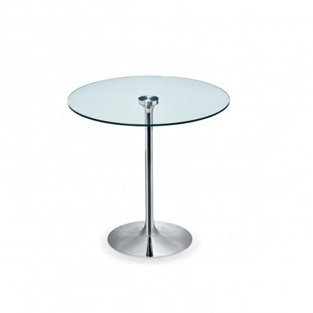 Table Ronde Diametre 100.Table Ronde Infinity Midj Plateau Verre Pied Chrome Diametre 100 Cm