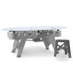 Table à manger baby foot ovale, RS Barcelona argent Hauteur 76 cm