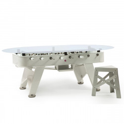 Table à manger baby foot ovale, RS Barcelona blanc Hauteur 76 cm