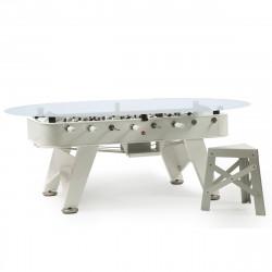 Table à manger baby foot ovale, RS Barcelona blanc Hauteur 76 cm