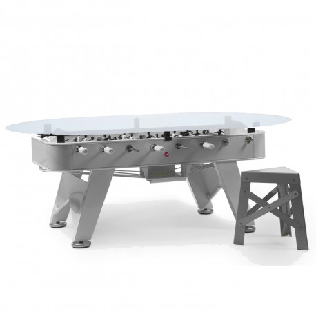 Table à manger baby foot ovale, RS Barcelona inox Hauteur 76 cm
