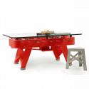 Table à manger baby foot rectangulaire, RS Barcelona rouge Hauteur 100 cm