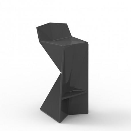 Tabouret design Vertex, Vondom gris anthracite Laqué