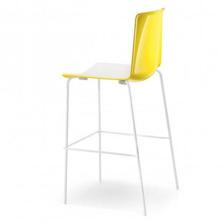 Tabouret Tweet 892 bicolore, Pedrali jaune/blanc Pieds chromés