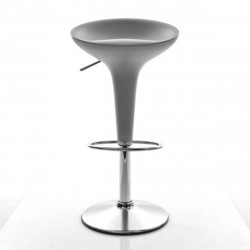 Tabouret de bar Bombo, Magis gris métallisé Fixe H84,5 cm