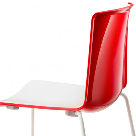 Chaise Tweet 897, Pedrali rouge, blanc Pieds vernis