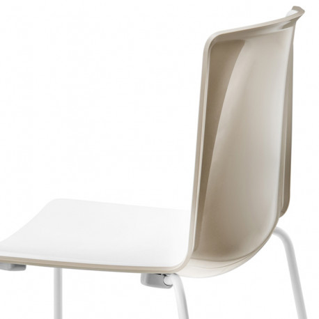 Chaise Tweet 897, Pedrali beige, blanc Pieds chromés