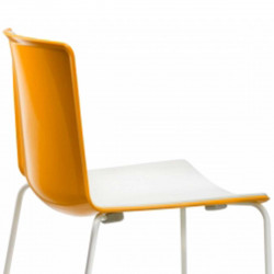 Chaise Tweet 897, Pedrali orange, blanc Pieds chromés
