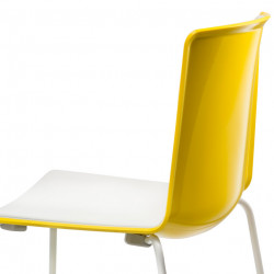 Chaise Tweet 897, Pedrali jaune, blanc Pieds vernis