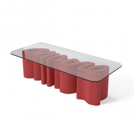Table Basse Amore Slide Design Rouge Laque Cerise Sur La Deco