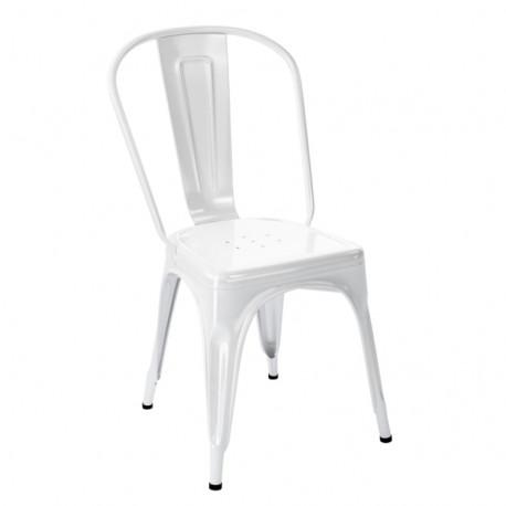 Chaise A Inox Brillant, Tolix blanc