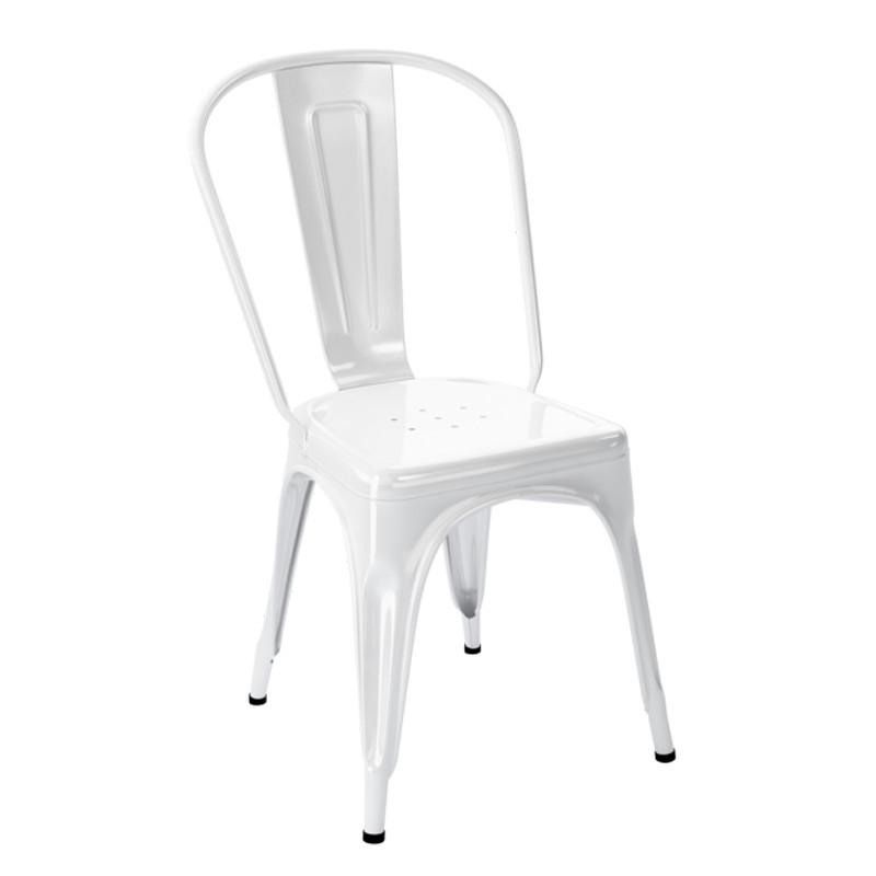 Chaise a inox brillant tolix blanc cerise sur la deco for Chaise inox