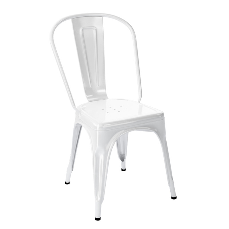 chaise a inox brillant tolix blanc cerise sur la deco. Black Bedroom Furniture Sets. Home Design Ideas