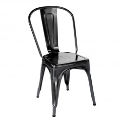 Chaise A Inox Brillant, Tolix noir