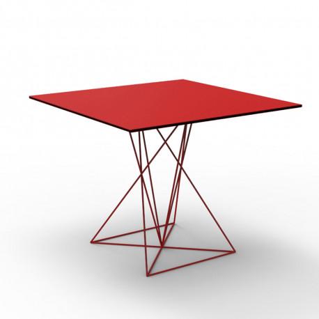 Table Faz inox, Vondom rouge 100x100xH72 cm