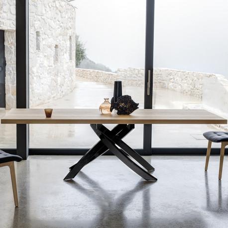 Table Sculptura en bois chene naturel 190/240/290x90 cm