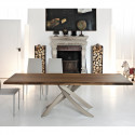 Table Sculptura en bois noyer massif 200x106 cm