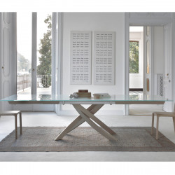 Table Sculptura en verre Extrawhite brillant 180x106 cm